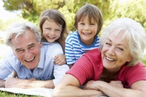 grandparents with grandkids enjoying family fun month