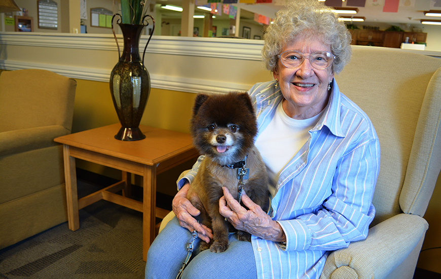 Betz Nursing Home resident with dog