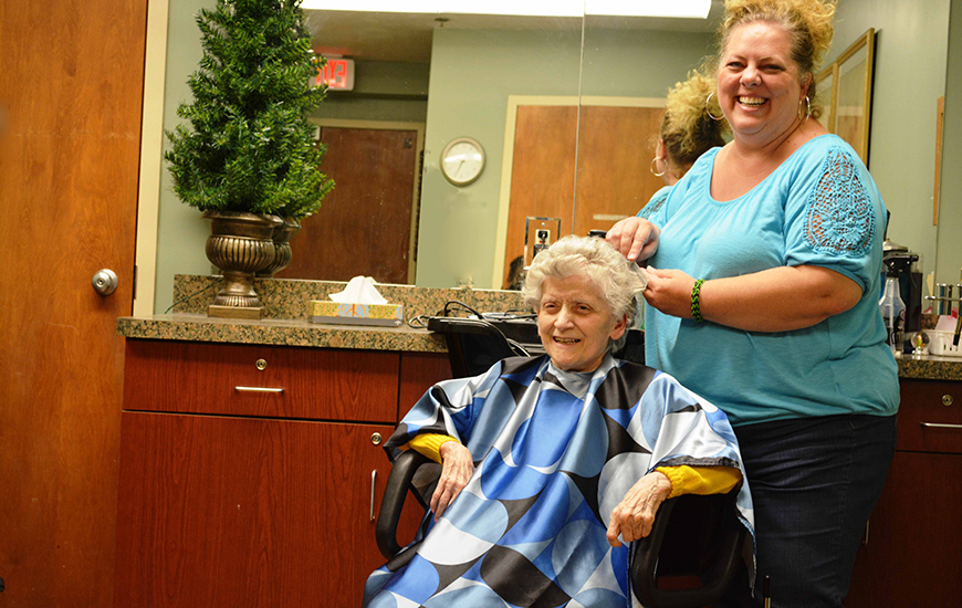 Washington Healthcare Center resident enjoys time in the beauty shop