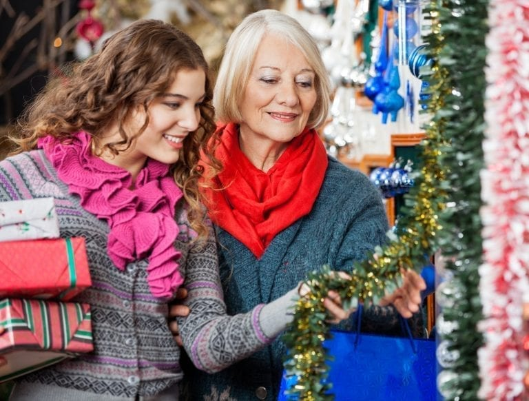 Mother and daughter Christmas shopping